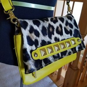Jessica Simpson Leopard print & Neon Yellow Purse